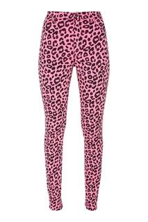 Розовые джинсы с леопардовым принтом Gucci