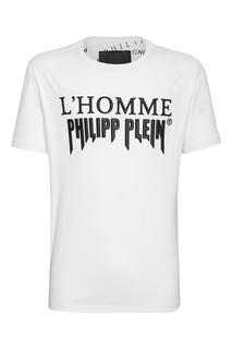 Белая футболка с надписью Philipp Plein