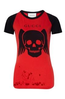 Красная футболка с черепом Gucci