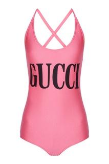 Розовый купальник с принтом Gucci
