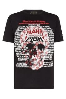 Черная футболка с принтом и надписями Philipp Plein