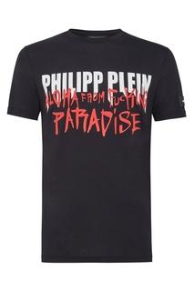 Черная футболка с надписью и логотипом Philipp Plein