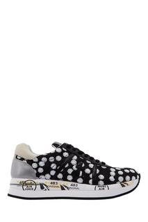 Черные кроссовки с пайетками Premiata
