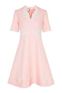Розовое платье с ажурной отделкой Gucci