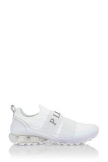 Белые текстильные кроссовки Philipp Plein