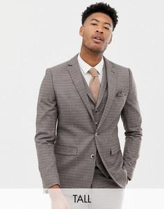 Коричневый приталенный пиджак в мелкую клетку Harry Brown Tall - Коричневый