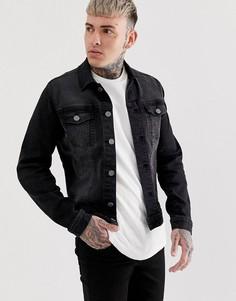 Черная джинсовая куртка узкого кроя Blend - Черный