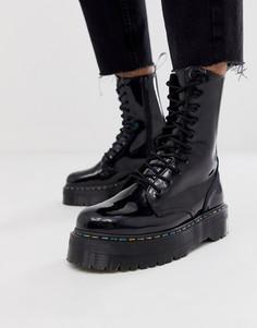 Черные ботинки на платформе с 10 парами люверсов Dr Martens Jadon - Черный