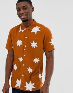 Оранжевая oversize-рубашка со звездным принтом Farah Santiago - Оранжевый