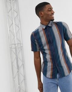 Темно-синяя рубашка в полоску с короткими рукавами Farah Donnally - Темно-синий