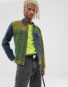 Джинсовая куртка колор блок с леопардовым принтом ASOS DESIGN - Мульти