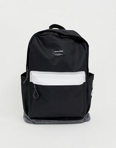 Монохромный рюкзак с контрастной отделкой и логотипом Jack & Jones - Черный
