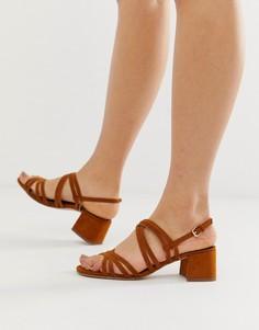 Светло-коричневые босоножки на каблуке с ремешками Miss Selfridge - Рыжий