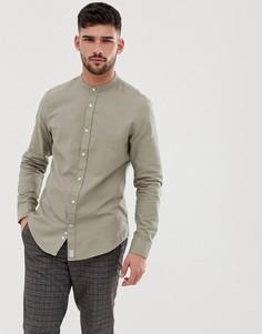 70b41c6b810 Рубашка цвета хаки с воротником на пуговице Bershka - Зеленый
