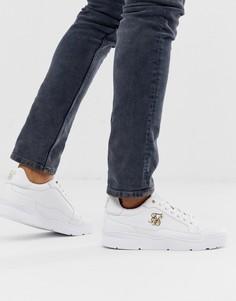 Белые кроссовки с золотистым логотипом SikSilk - Белый