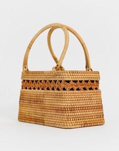 608b72dcc8d5 Структурированная плетеная сумка из ротанга ASOS DESIGN - Коричневый