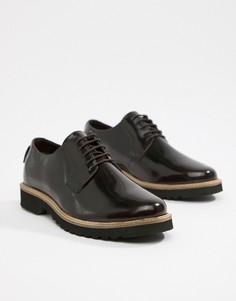 Темно-бордовые блестящие туфли на толстой подошве со шнуровкой Ben Sherman - Красный