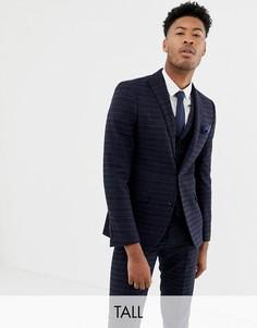 Сине-золотистый приталенный пиджак в клетку Harry Brown Tall - Синий