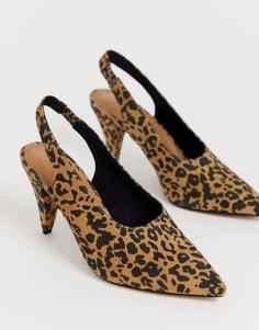 Туфли на среднем каблуке с леопардовым принтом ASOS DESIGN - Мульти
