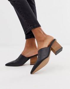 Кожаные мюли на каблуке ASOS DESIGN Sloane premium - Черный