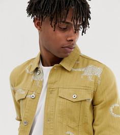 Свободная джинсовая куртка с принтом Heart and Dagger - Коричневый