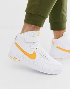 Золотистые высокие кроссовки Nike Air Force 1 - Золотой