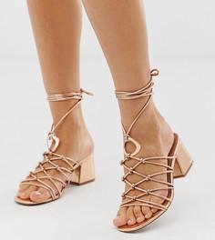 Босоножки на блочном каблуке для широкой стопы с кольцами ASOS DESIGN - Золотой