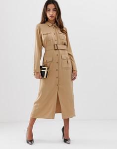 Платье-рубашка миди в стиле милитари с карманами и поясом ASOS DESIGN - Бежевый