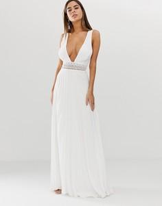 Платье макси без рукавов с кружевным топом и плиссированной юбкой ASOS DESIGN - Белый
