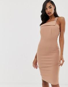 Розовое платье на одно плечо Vesper - Розовый