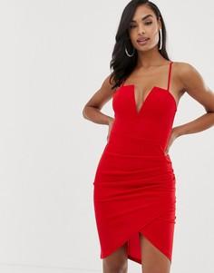 Красное платье мини с глубоким вырезом и запахом Scarlet Rocks - Красный