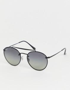 Круглые солнцезащитные очки с двумя планками сверху Ray-Ban 0RB3614N - Черный