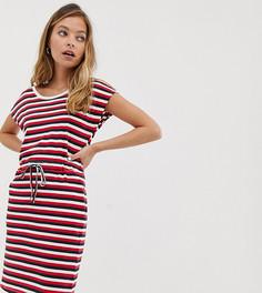 Трикотажное платье в полоску с завязкой на талии Vero Moda Petite - Мульти