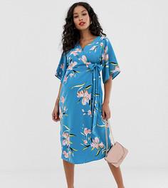 Платье миди с запахом и цветочным принтом Mamalicious - Синий Mama.Licious