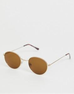Солнцезащитные очки в овальной золотистой оправе Bershka - Золотой