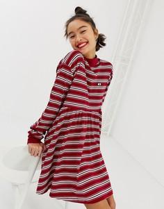 Свободное платье в полоску с длинными рукавами Lazy Oaf - Красный