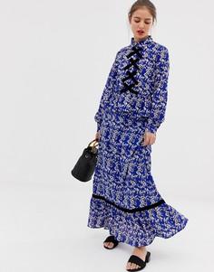 Платье макси с цветочным принтом и контрастной отделкой Vila - Синий
