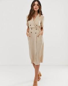 Платье-смокинг миди ASOS DESIGN - Коричневый