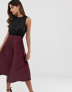 Платье миди 2 в 1 с цветочным принтом на юбке AX Paris - Черный