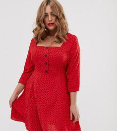 Красное шифоновое платье мини в горошек с квадратным вырезом Simply Be - Мульти