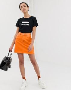 Мини-юбка с необработанным краем Dr Denim - Оранжевый