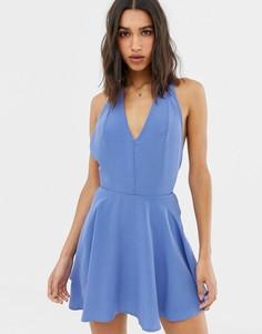 Приталенное платье с расклешенной юбкой Love - Синий