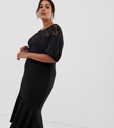 Эксклюзивное платье-футляр миди с кружевом и оборкой по краю ASOS DESIGN Curve - Черный