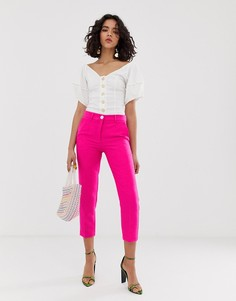 Розовые брюки-сигаретки River Island - Розовый