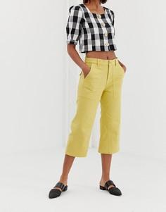 Широкие укороченные джинсы Iden Denim Oprah - Желтый