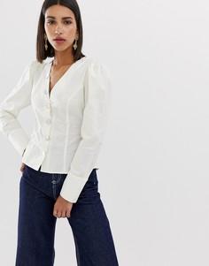 Блузка с пышными рукавами Neon Rose - Белый