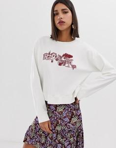 Укороченный свитшот с вышивкой Neon Rose - Кремовый