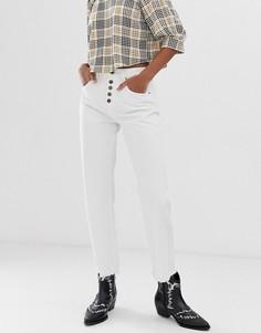 Джинсы в винтажном стиле с завышенной талией на пуговицах Neon Rose - Белый