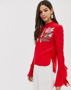 Топ с вышитыми розами и оборками на рукавах Millie Mackintosh - Красный