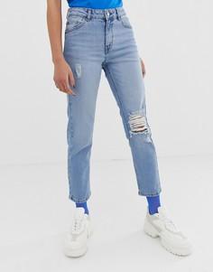 Укороченные рваные джинсы в винтажном стиле Dr Denim Edie - Синий